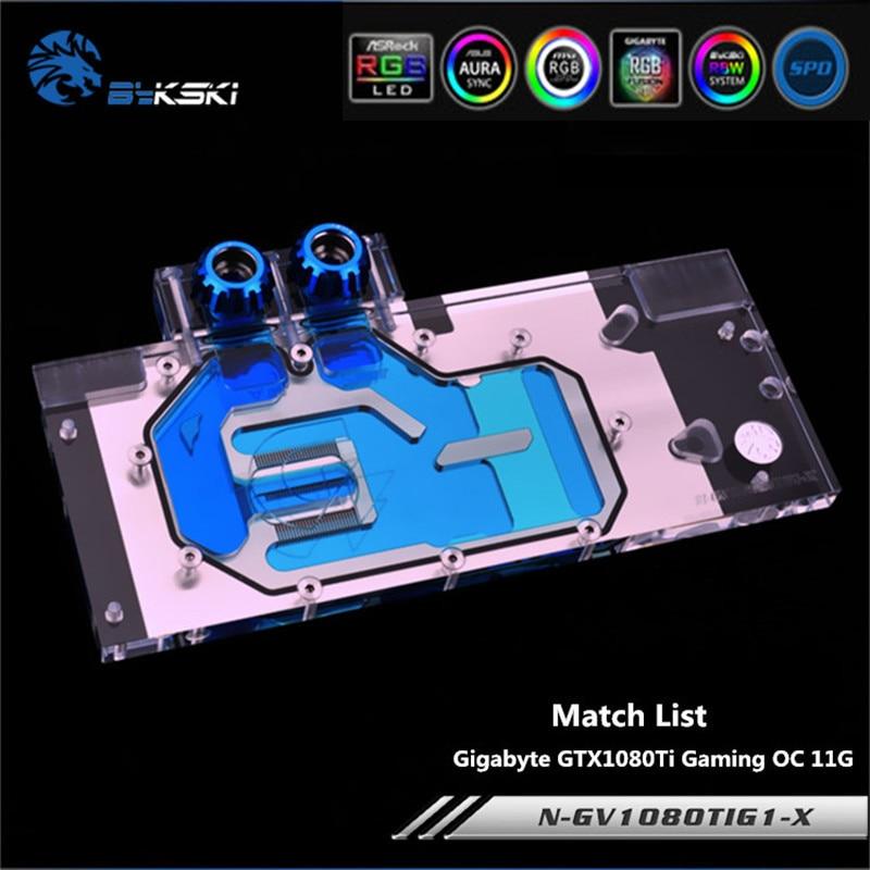 Bykski N-GV1080TIG1-X couverture complète GPU bloc d'eau pour VGA Gigabyte GTX1080Ti Gaming OC 11G carte graphique refroidissement à l'eau