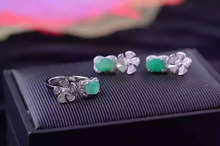 Natural green emerald gem jewelry sets natural gemstone ring Earrings 925 silver Stylish windmill Flowers women gift jewelry