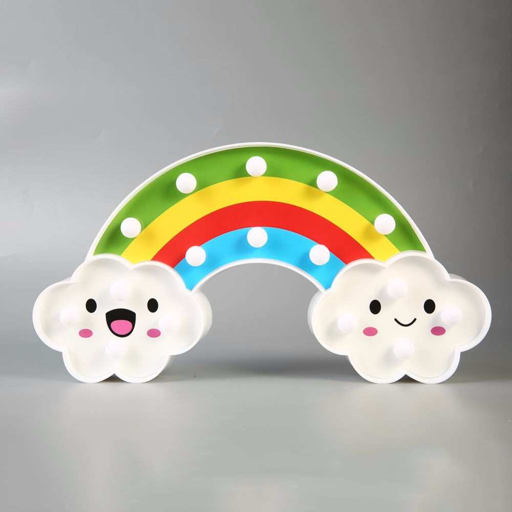 Gift Kid Rainbow 18 LED Night Light Battery Operated Romantic Bedside Wall Desk Nursery Decor Table Lamp Baby Kids Perfect Gift