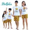 2017 a juego de la camiseta + pantalones cortos de verano de la familia establece madre hija padre e hijo ropa a juego ropa de la familia establece casual