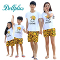 2017 summer family matching t-shirt + shorts sets mother daughter matching clothes family set casual dad and son clothes