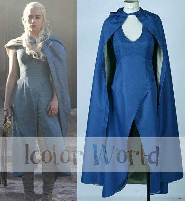 حار بيع لعبة عروش daenerys targaryen khaleesi ثوب أزرق مع الرأس هالوين  ازياء تأثيري حلي 8729b5902226