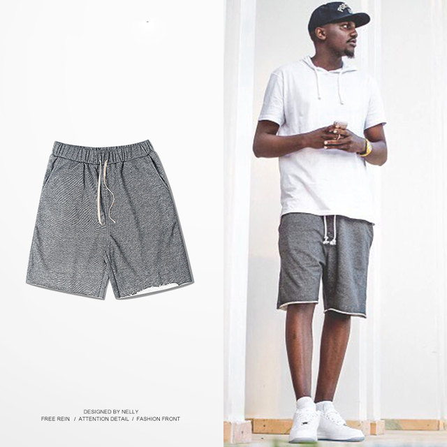 e18e1e2beab0 new mens drop crotch boardshort grey hip hop kanye west style Casual shorts  casual Justin Bieber