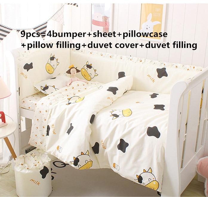 6/9PCS Baby Bedding Baby Crib Sheets 100% Cotton Boy Bedding Breathable Crib Protector Crib Bumper Blanket Sheet Whole Set