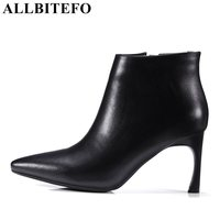 ALLBITEFO Large Size 33 43 Genuine Leather Pointed Toe High Heel Shoes Fashion Brand Thin Heel