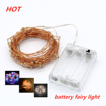 купить Led Strings light 2M 5M 10M 100 Copper Wire 3XAA Battery Operated Christmas Wedding Party Decoration LED String Fairy Lights дешево