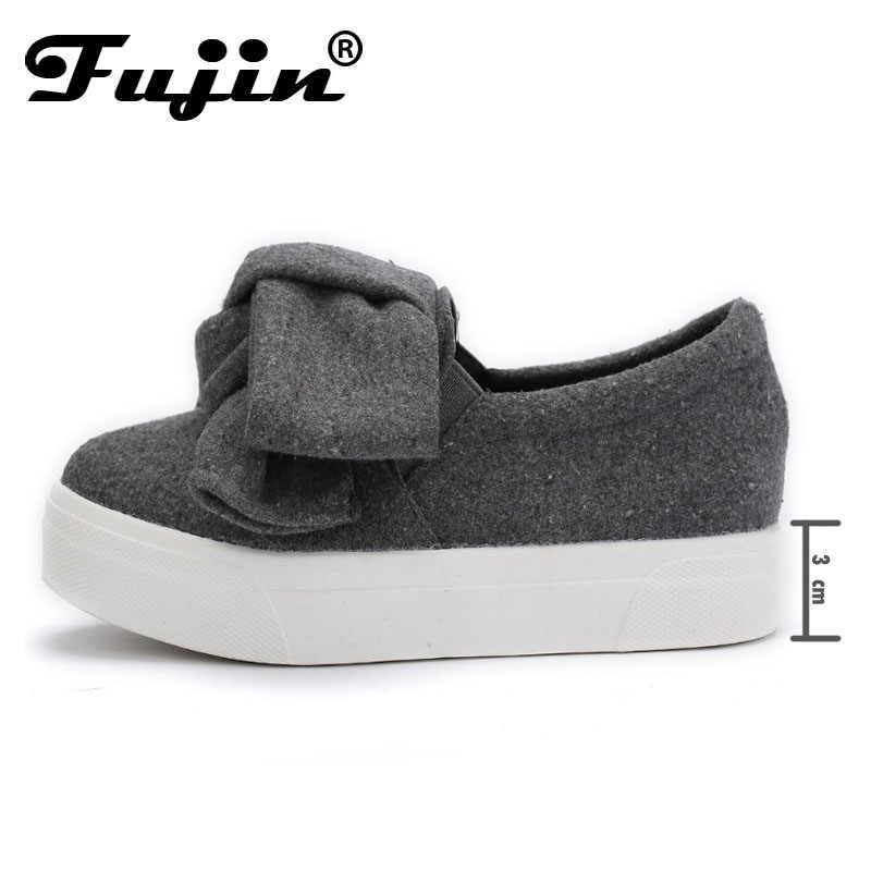 Fujin 3cm siyah gri kadın bahar botları kış moda kadınlar Flats yay kadın platform ayakkabılar Espadrilles üzerinde kayma ayakkabı sürüngen
