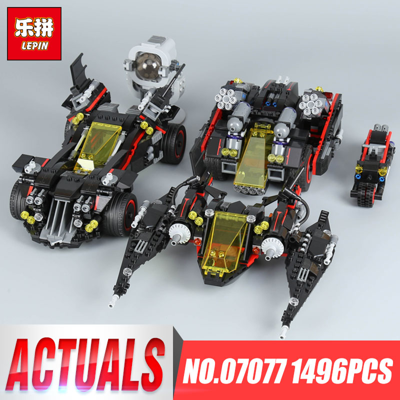 Lepin 07077 1496Pcs Genuine Batman Movie Series The Ultimate Batmobile Set Educational Building Blocks Bricks Toys Model 70917 stzhou lepin batman 559pcs genuine superhero movie series the batman robbin s mobile set lepin building blocks bricks toys