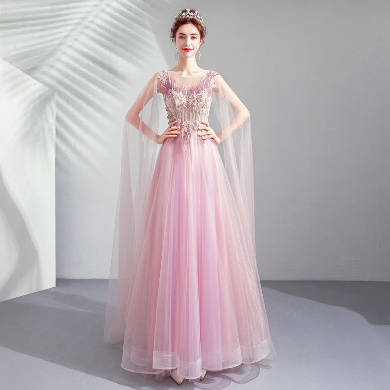 Prom Dresses Long Illusion Pink Tulle Lace Applique Rhinestone A-line Sweep Train with Cape Evening Dresses 2018 Elegant Vestido