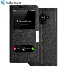 for samsung A8 2018 case Luxury view window genuine leather cover stand case for samsung galaxy A8 2018 coque