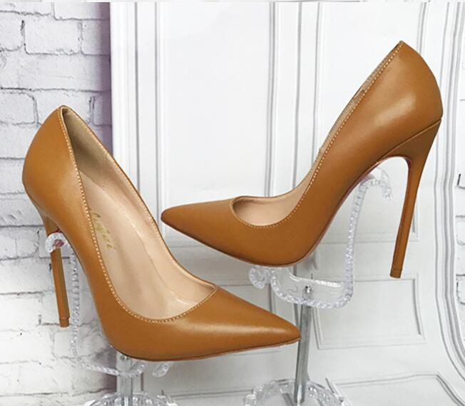 Sexy High Heels Pointed toe Pumps Light brown Office Shoes Women 120MM Party Shoes Fashion Stiletto High Heel Pump Patent Leathe fashion black patent leather high heels women sexy pointy stiletto high heel pumps trendy rivets slip on high heel party shoes