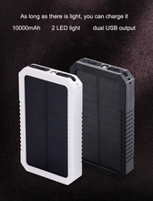 2018 Solar Power Bank Waterproof 10000mAh Solar Charger 2 USB Ports External Charger Powerbank for Smartphone with LED Light все цены