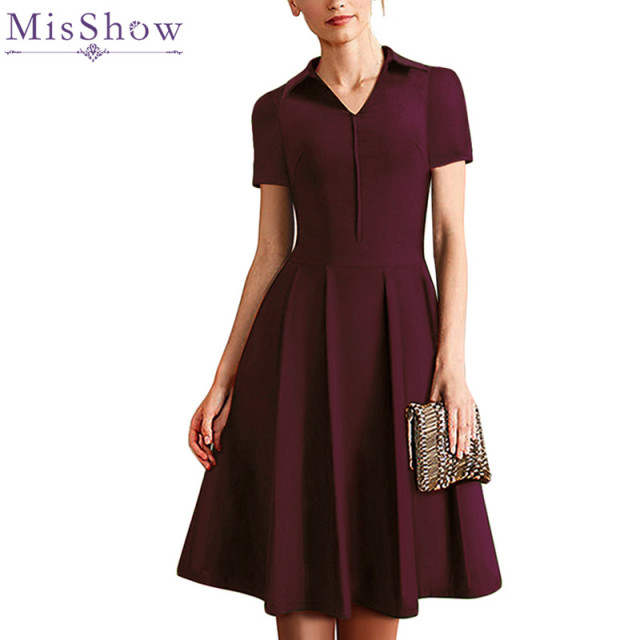 MisShow Burgundy Vintage Dress 2018 Turn-down Collar Short Sleeve Plus Size  4XL Women Dress fd2008e8349a