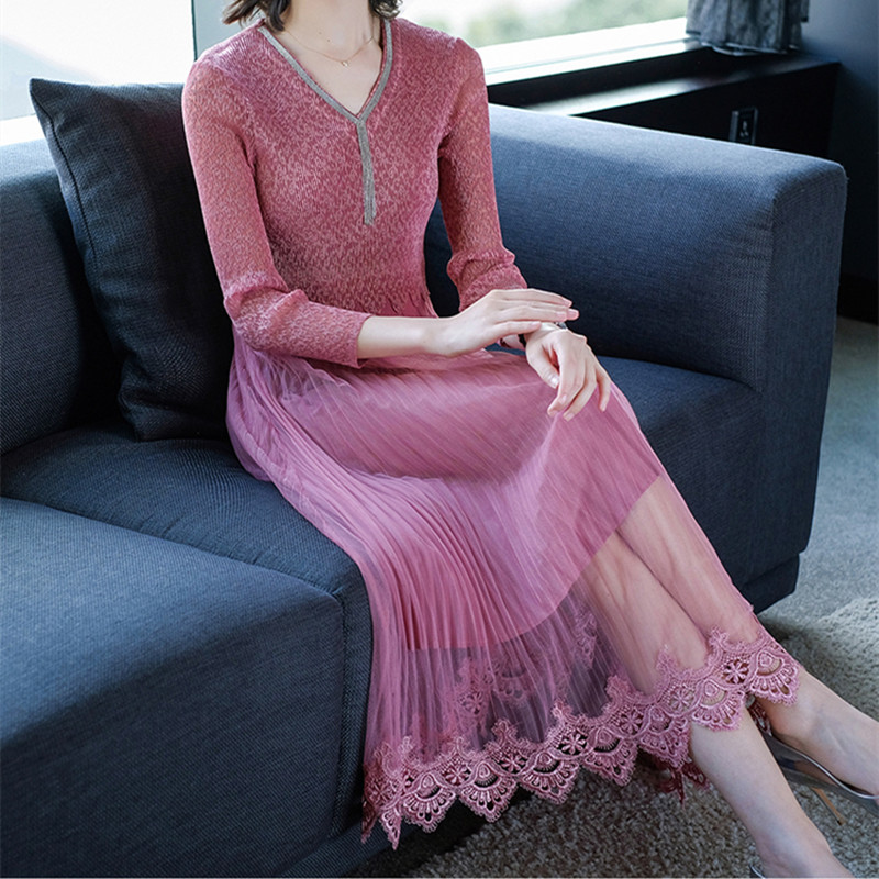 Mesh Stitching Embroidered Pleated Dress Elegant Lace V Neck Women Vintage Hollow Out Lace stitching Special