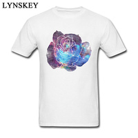 Faded Galaxy Rose Awesome Pattern T Shirt Men Personality Style Summer Top Tees Shirts Cotton Clothing