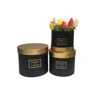 Image 2 - Boîte ronde avec couverture de couleur dorée pour fleuriste, coffret cadeau pour thanksgiving de noël, nouveau design 2020
