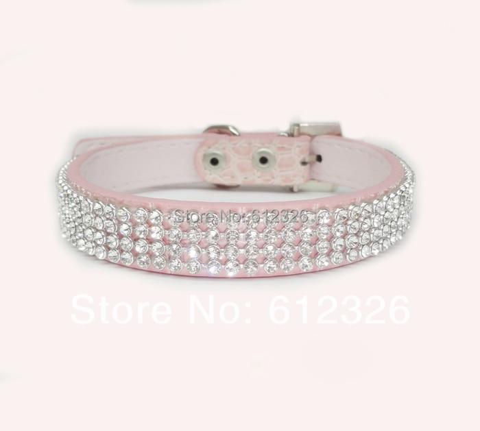 Pet Dog Cat Collars Leads Colorful Rhinestone diamond PU Leather Crocodile Pattern White S/M/L