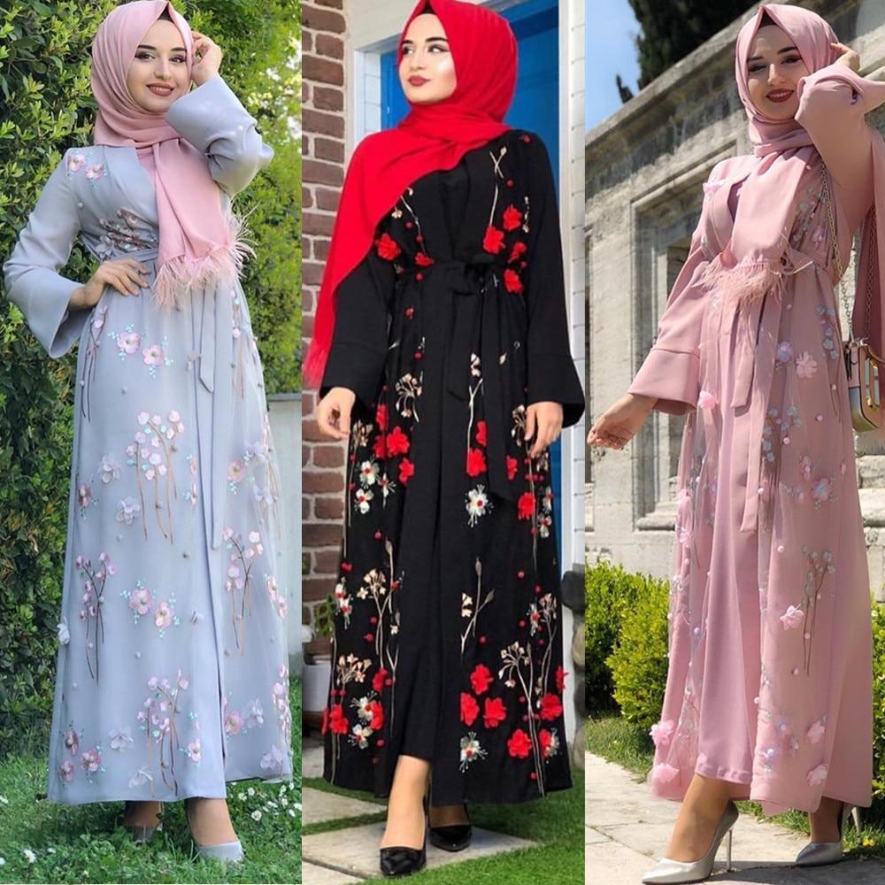 Elegant Muslim Embroidery Abaya 3D Appliques Beading Full Dress Cardigan Kimono Long Robe Gowns Jubah Eid Ramadan Islamic