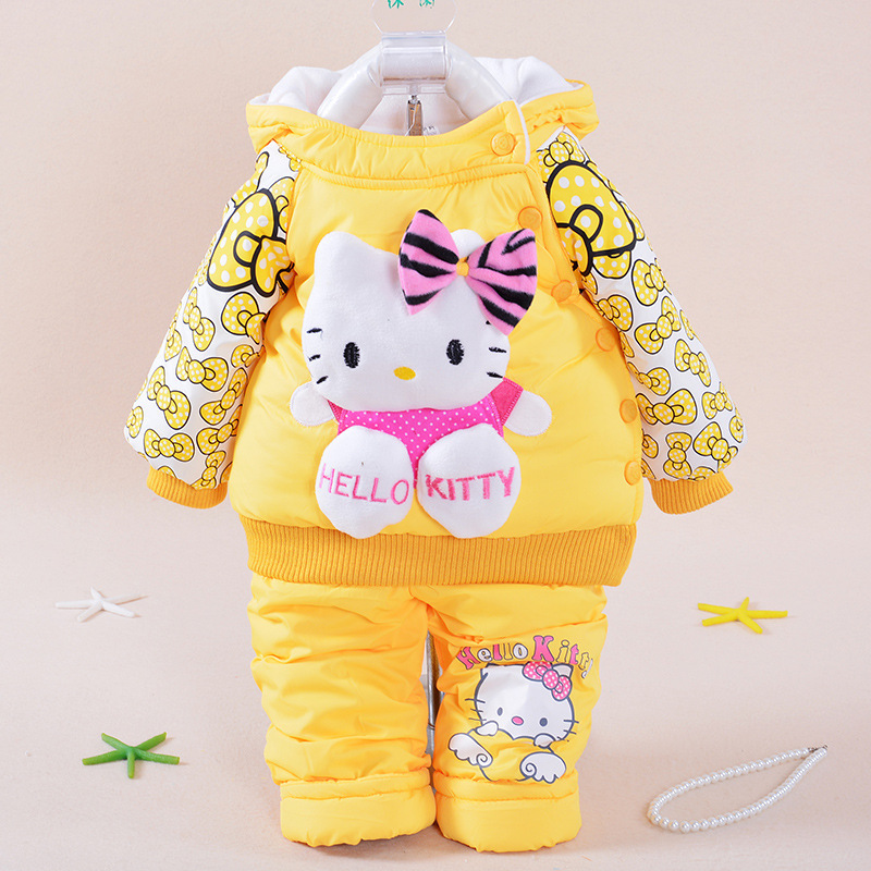 Fashion Baby Girls Set Winter Girl Cotton Suit Thickening Keep Warm Baby Cartoon Hellokitty Two Piece Sets Cotton-padded Clothes baby girl clothes baby winter suit spring and autumn warm baby boy clothes newborn fashion cotton clothes two sets of underwear