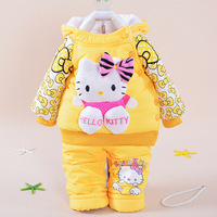 Fashion Baby Girls Set Winter Girl Cotton Suit Thickening Keep Warm Baby Cartoon Hellokitty Two Piece