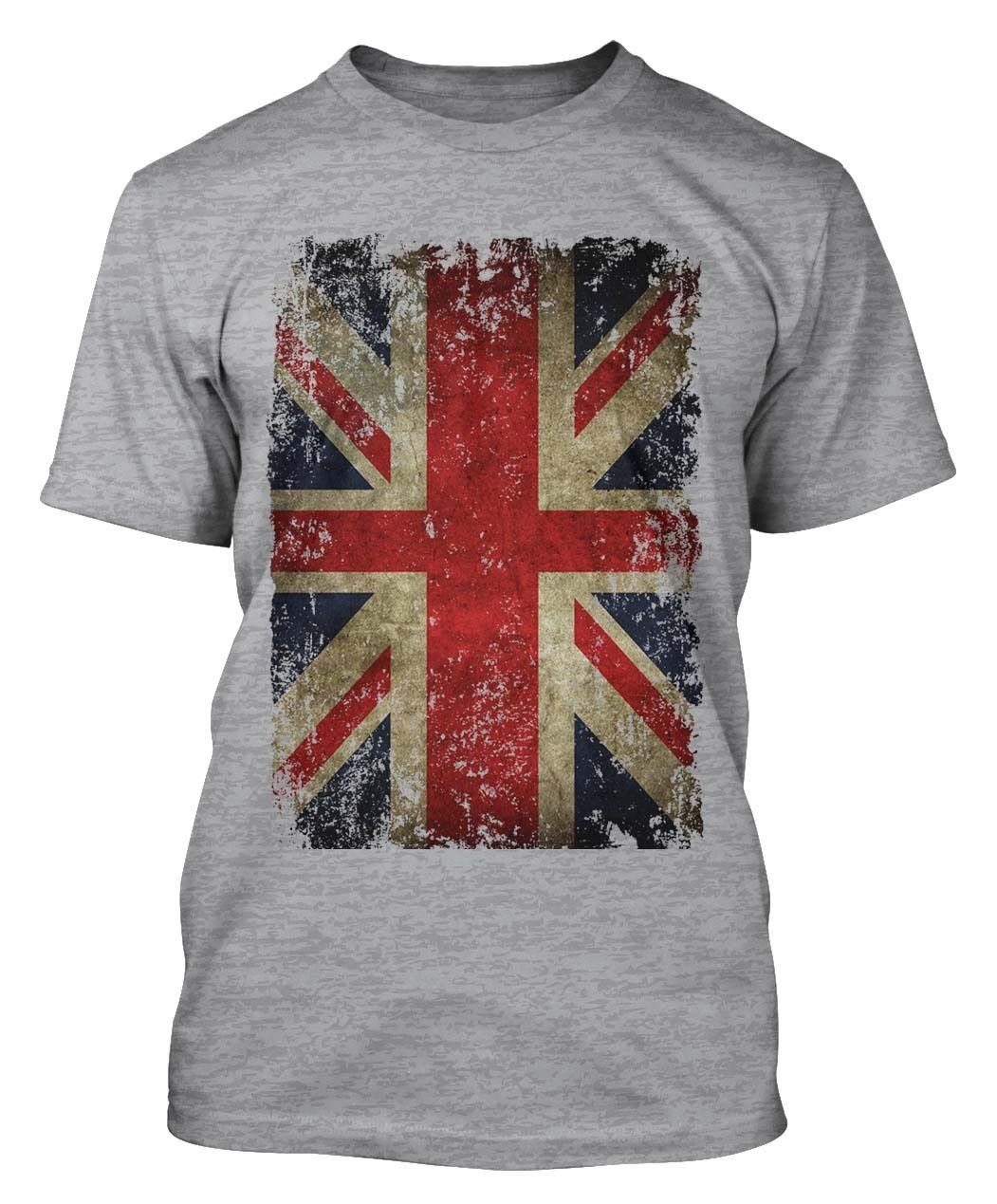 UNION JACK T-SHIRT DISTRESSED GRUNGE VINTAGE UK BRITISH FLAG GREAT BRITAIN Summer Short Sleeves Cotton Fashion
