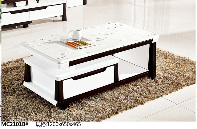 MC2101B Modern Living Room Furniture Marble Top Tea Table Coffee Table  Black And White With Drawer