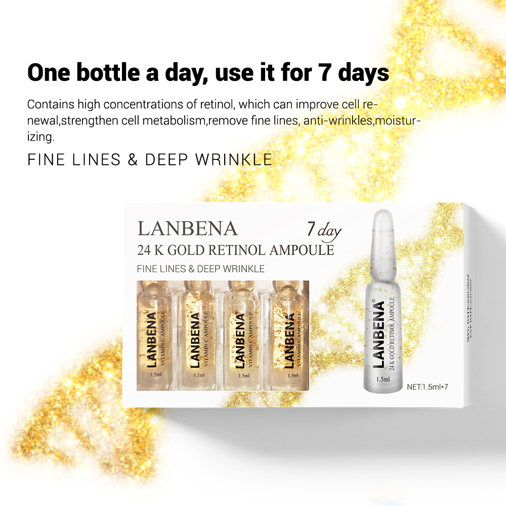 LANBENA Ampoule Serum Hyaluronic Acid+Vitamin C+24K Gold Retinol +Q10+Ceramide Anti-Aging Wrinkle Moisturizing Beauty For 7 Days