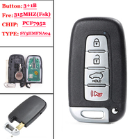 (1 Pcs) 315MHz PCF7952 Chip FCC: SY5HMFNA04 Smart 3+1 4 Button Remote Key Fob for Kia Sportage Soul, for Hyundai Elantra Genesis