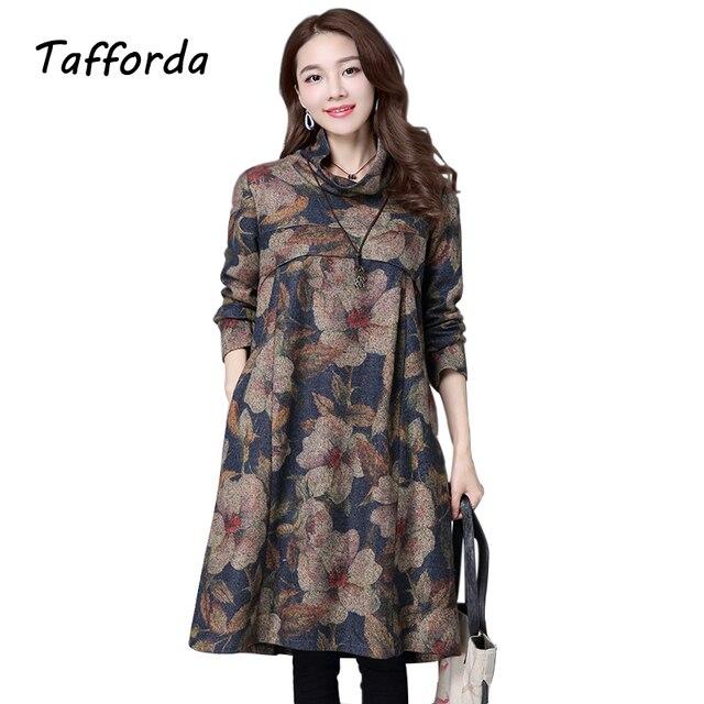 2016 Autumn Winters Big Yards  Dress Women's Clothing Woolen Cloth National Style Turtleneck Vintage Dress M L XL 2XL