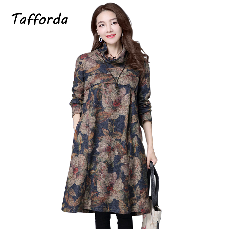 2016 Autumn Winters Big Yards Dress Womens Clothing Woolen Cloth National Style Turtleneck Vintage Dress M L XL 2XL