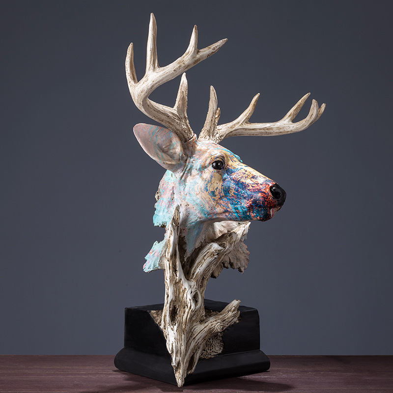41CM Faux Wood Deer Head Statue Painting Art Animal Decorative Figurine Resin Art&Craft Home Decoration R196