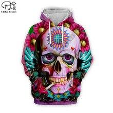 Funny Halloween Skull head print Mens 3d Hoodies Unisex Sweatshirts harajuku colorful Streetwear Autumn women sunflower hooded