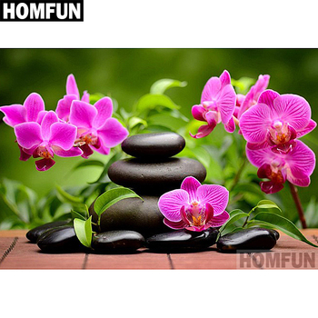 "HOMFUN 5D DIY Diamond Painting ""Orchid Stone"" Full Drill Resin Diamond Embroidery Cross Stitch Home Decor A06602"