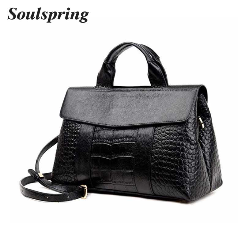 Crocodile Pattern Genuine Cow Leather Women Brand Bag Ladies Real Leather Purse Fashion Shoulder Messenger Bag Totes Bag Handbag brand design genuine real leather shoulder bag large size hot sale plaid pattern chain bag fashion women handbag freeshipping