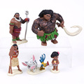 Princess Moana 5pcs/set Moana Maui Heihei Waialik Chief Tui Figures Toys Children Gifts