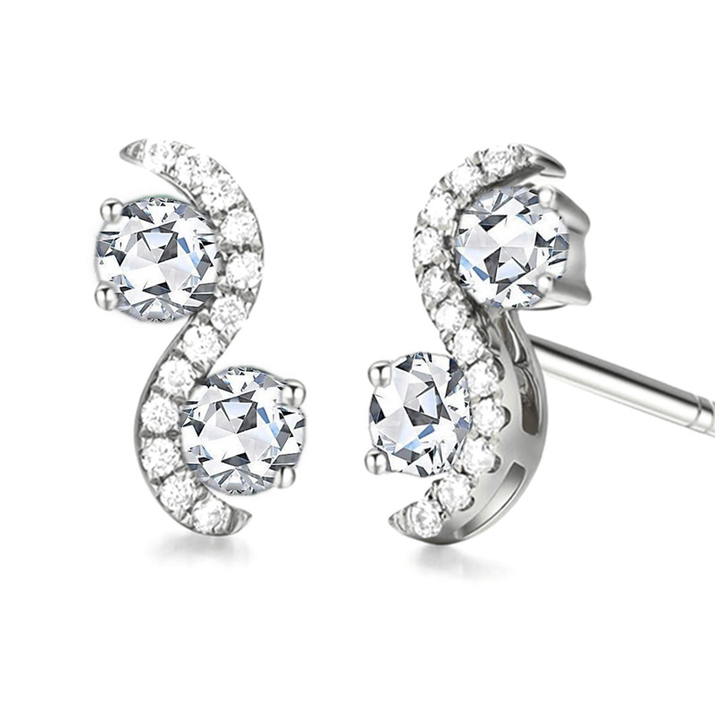 Solid 14k White Gold Shape Women Stud Earrings Accents AAA Graded Cubic Zirconia CZ Trendy Fine Jewelry купить недорого в Москве