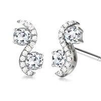 Solid 14k White Gold Shape Women Stud Earrings Accents AAA Graded Cubic Zirconia CZ Trendy Fine Jewelry