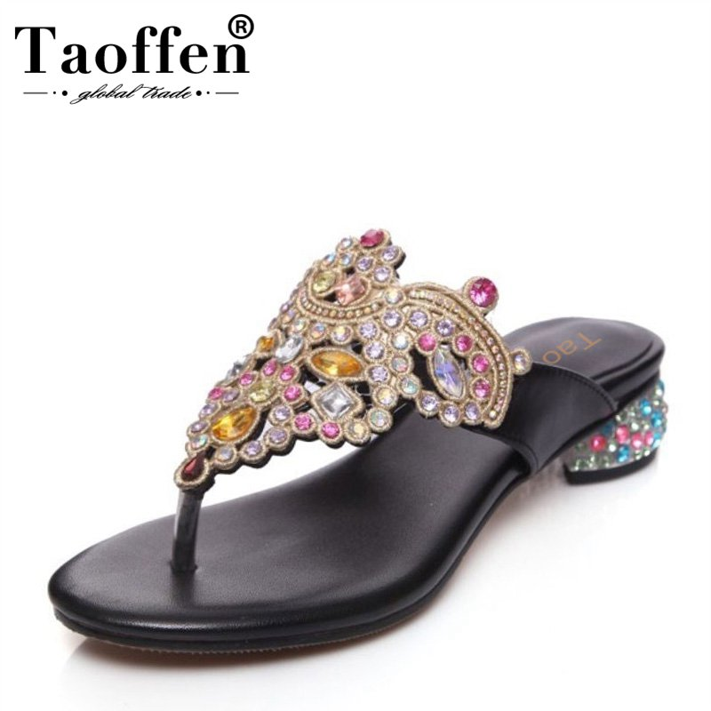 TAOFFEN National Style Women Genuine Leather Flats Sandals Beading Flats Flip Flops Summer Shoes Woman Slippers