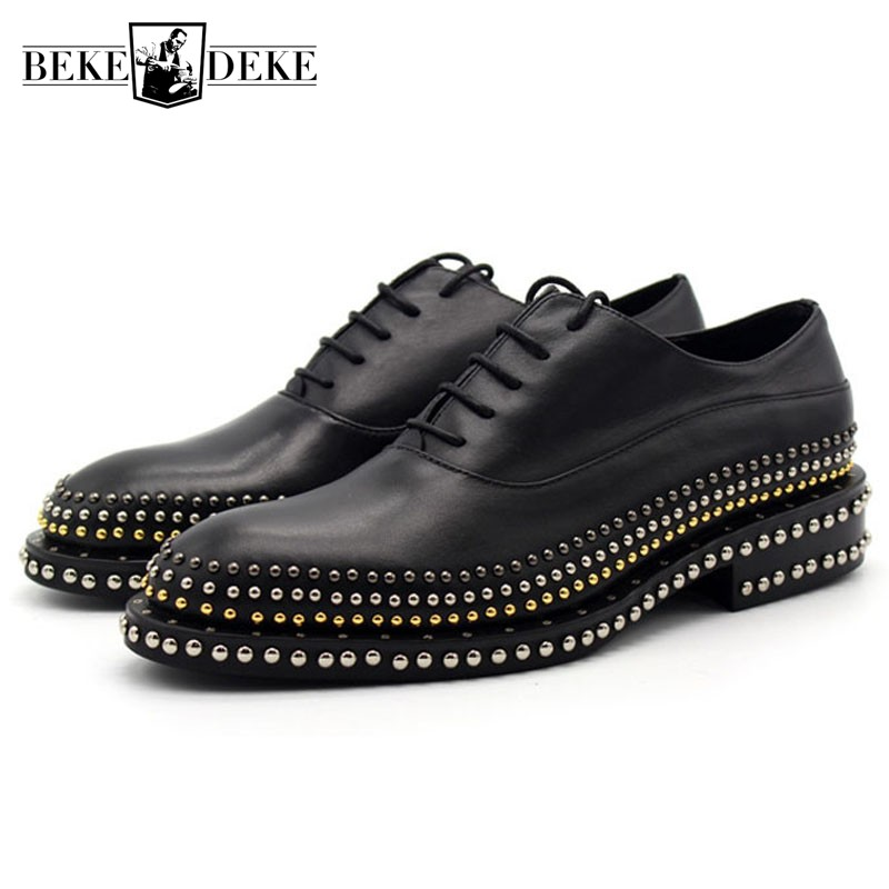 Top Quality Oxford Shoes Men Hand Made Rivet Thick Platform Leather Shoes Solid Black Low Top Men Wedding Dress Shoes Plus Size купить дешево онлайн