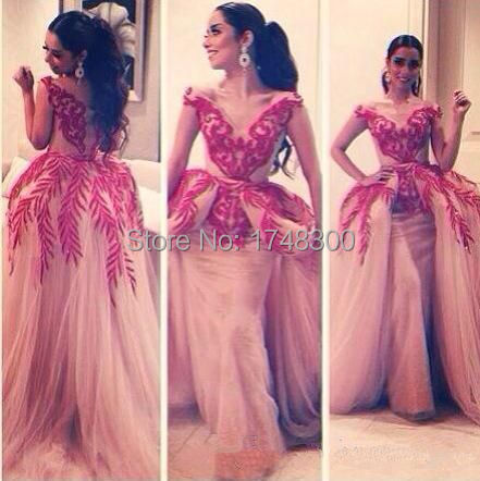 Free Shipping Hot Celebrity Dress Myriam Fares V Neck Sexy Ball Gown Embroidery Unique Design