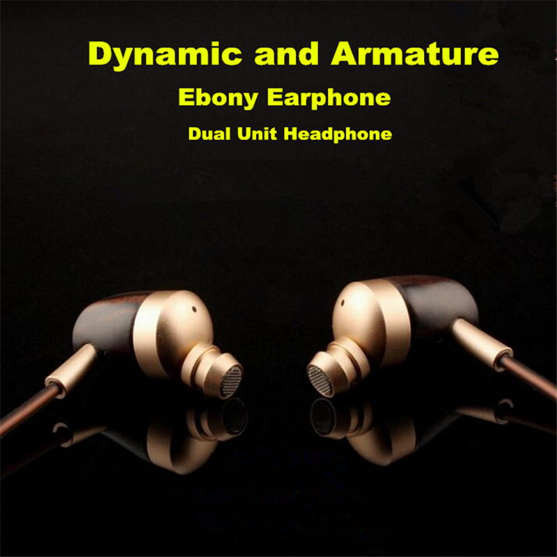 ФОТО Newest BOSSHIFI B3 Dynamic and Armature 2 unit Wood Earbuds HIFI Ebony Moving Iron&Coil In Ear Earphone DIY Wooden Headset