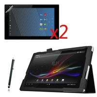 4in1 2 Folding Litchi Luxury Folio Stand Leather Case Cover 2x Screen Protector Stylus For Sony