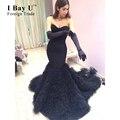 Tcma068 Negro Ruffle Tren Cariño Vestidos de Baile Negro Mermaid Prom Vestidos Con Volantes Árabe Tulle Largos Vestidos de Graduación