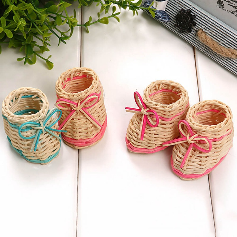 Hot 1 PC Cute Mini Shoes Weave Storage Baskets Fashion Plant Desktop Decoration Makeup Sundries Organizer Home Decoration Crafts