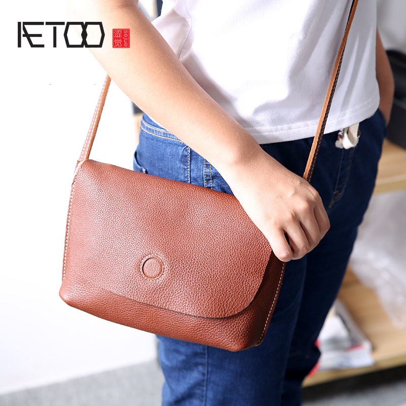 AETOO Retro leather handmade mothers bag head layer of leather simple mini bag bag shoulder Messenger bag aetoo spring and summer new leather handmade handmade first layer of planted tanned leather retro bag backpack bag