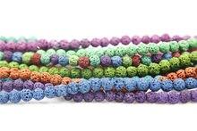 13 colores bolas de Lava srainbow roca Volcánica de Piedra Natural granos Flojos de la bola de calidad Superior 6 MM pulsera Joyería que hace 63pis/lot