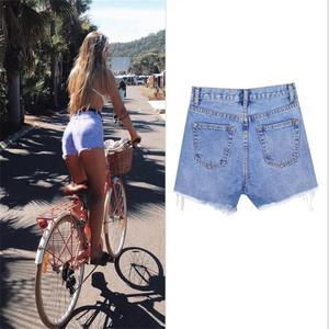 Image 5 - SupSindy kobiety krótkie dżinsy 2020 styl europejski Vintage wysokiej talii tassel Denim szorty luksusowe marki Slim Casual zgrywanie krótkie dżinsy