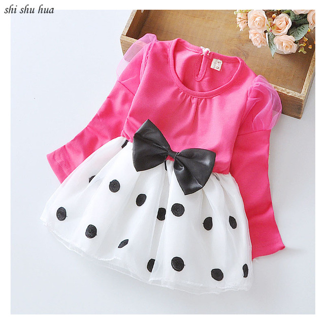 b4d401026 Children s clothing girls summer clothes long sleeved dress + bow ...