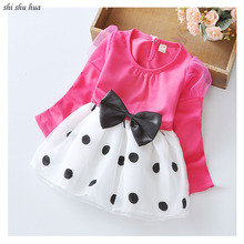 Girls Clothes Long-sleeved Dot Print Lace Mesh Yarn Splice Dress Bow Decoration1-4 Y Child Quality Clothing 2019 Hot Sale