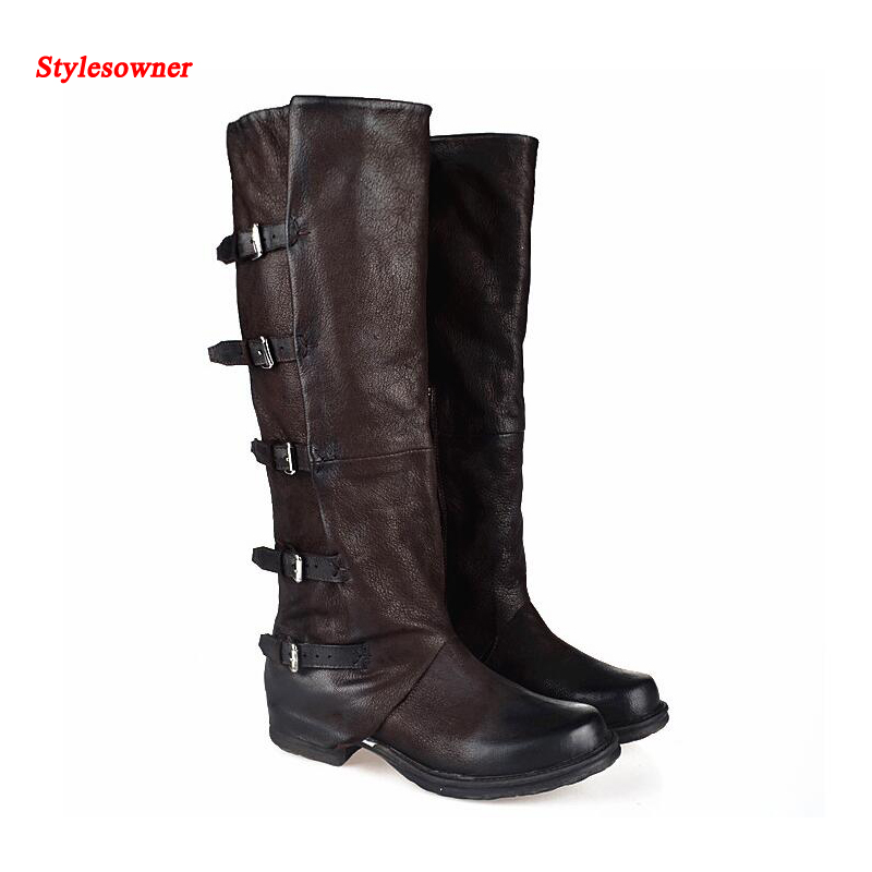 Stylesowner Vintage Leather Knee High Boots Women Top Quality Square Toe Flat Belt Buckle Fashion Boots
